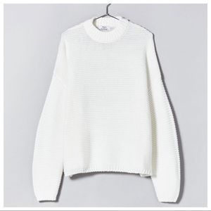 NWT. Bershka White Oversized Sweater. Size XS
